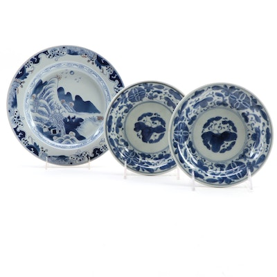 Chinese Blue and White Landscape and Floral Porcelain Plates