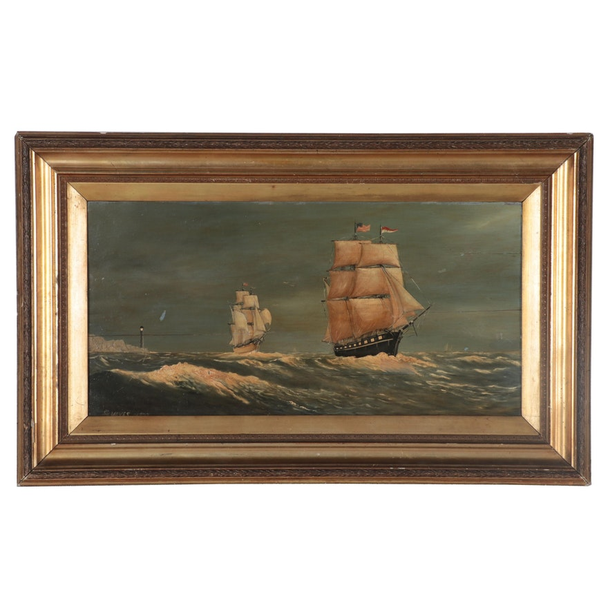 G. Hayes Nautical Oil Painting of Boat at Sea, circa 1877