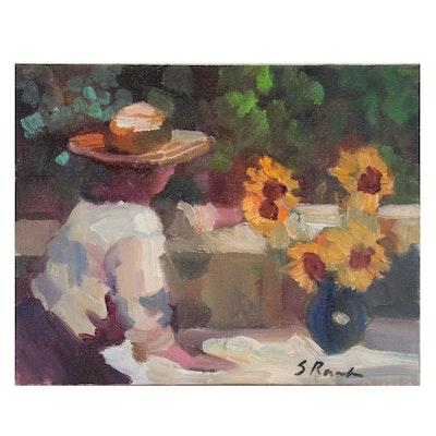 Sally Rosenbaum Oil Painting of Woman, 21st Century