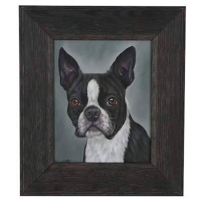 Joseph Veillette Acrylic Portrait of Dog, 21st Century