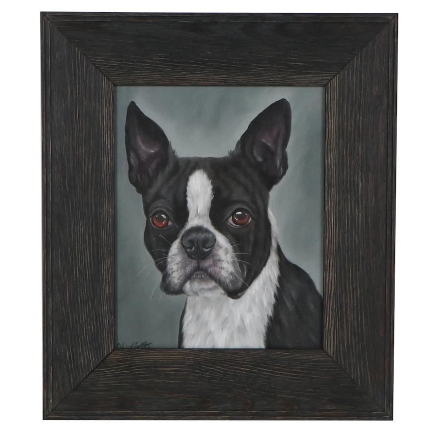Joseph Veillette Acrylic Portrait of Dog, 21st Century