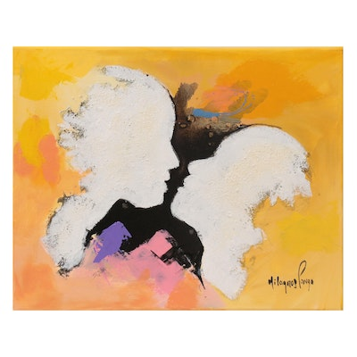 Milagros Pongo Abstract Mixed Media Painting of Two Figures