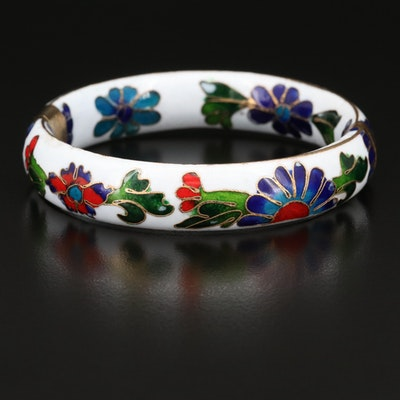 Chinese Cloisonné Hinged Bangle