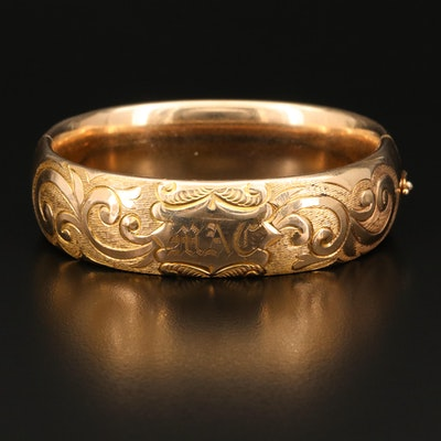 Victorian Hinged Bangle with Engraved Scrollwork