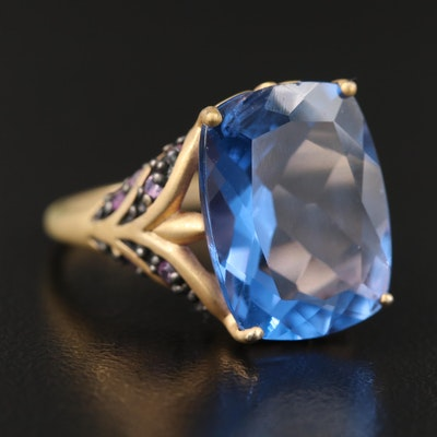 Sterling Color Change Fluorite and Sapphire Ring