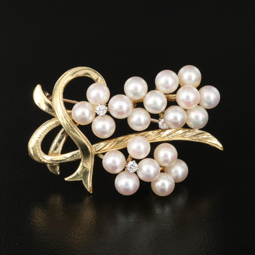 Vintage 18K Pearl and Diamond Cluster Brooch