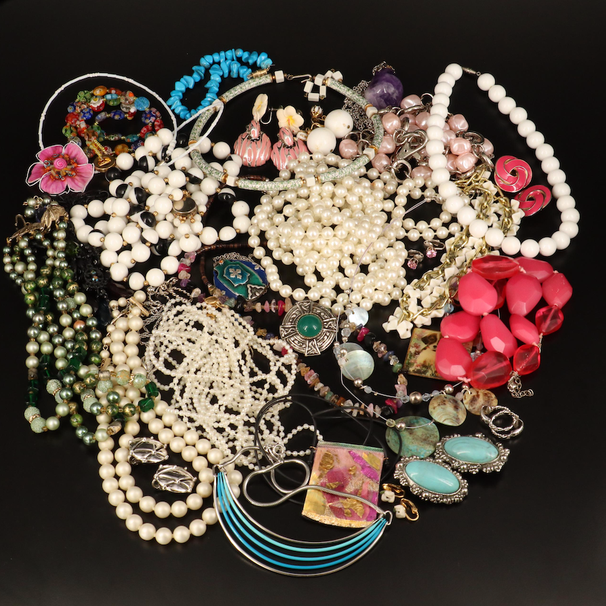 Crown Trifari, Beverly, Sterling Necklace and Jewelry Selection
