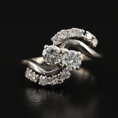 Vintage 10K Diamond Bypass Ring