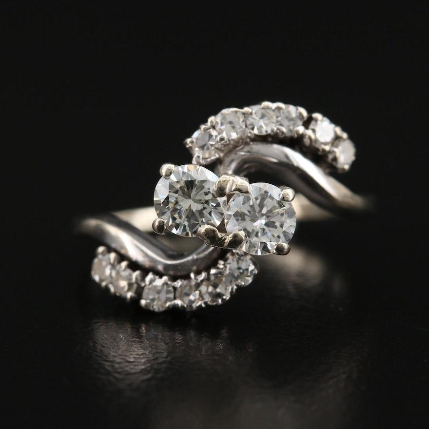Vintage 10K Diamond Bypass Ring