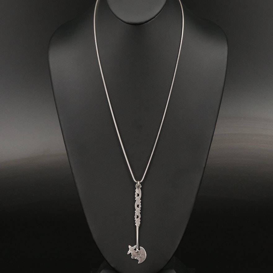 Vintage 800 and 850 Silver Pendant on Sterling Silver Chain Necklace