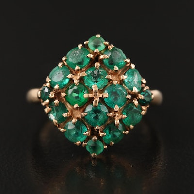 10K Emerald and Glass Ring