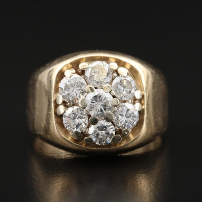 14K 2.08 CTW Diamond Cluster Ring
