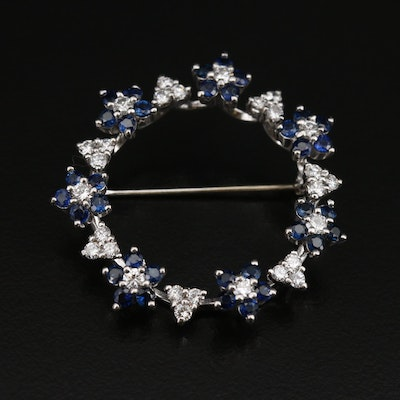 Platinum 1.05 CTW Diamond and Sapphire Floral Circle Brooch