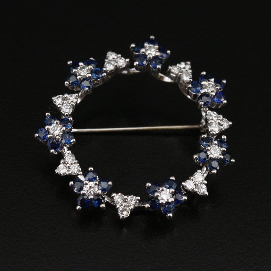 Platinum 1.05 CTW Diamond and Sapphire Floral Circle Brooch