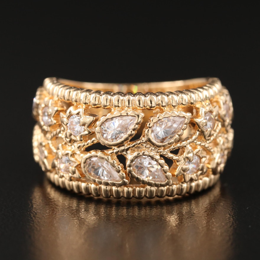 14K Cubic Zirconia Floral Ring