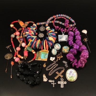 1982 Metropolitan Museum of Art Replica Pendant, Vintage Stick Pins and Jewelry
