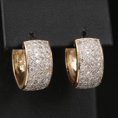 14K 1.17 CTW Diamond Huggie Earrings
