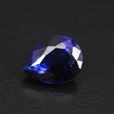 Loose Lab Grown 2.63 CT Pear Faceted Sapphire with GIA Report