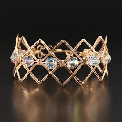 Glass Patterned Geometric Bracelet