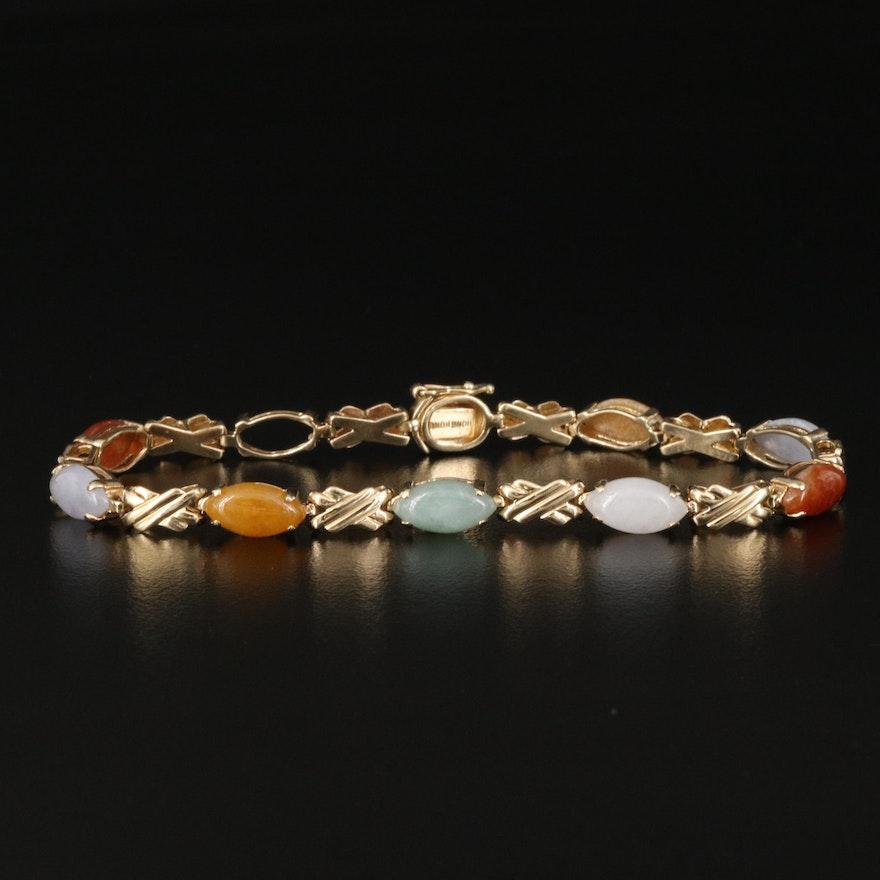 14K Jadeite Link Bracelet