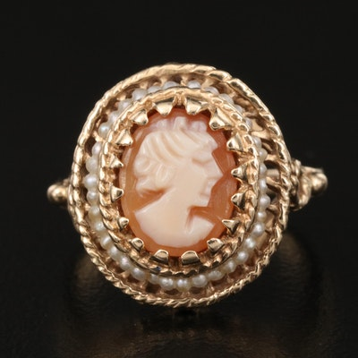 14K Shell and Seed Pearl Cameo Ring