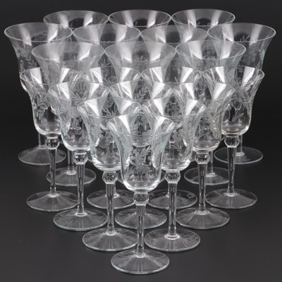 Etched Wheat Pattern Glass Water Goblets and Clarets