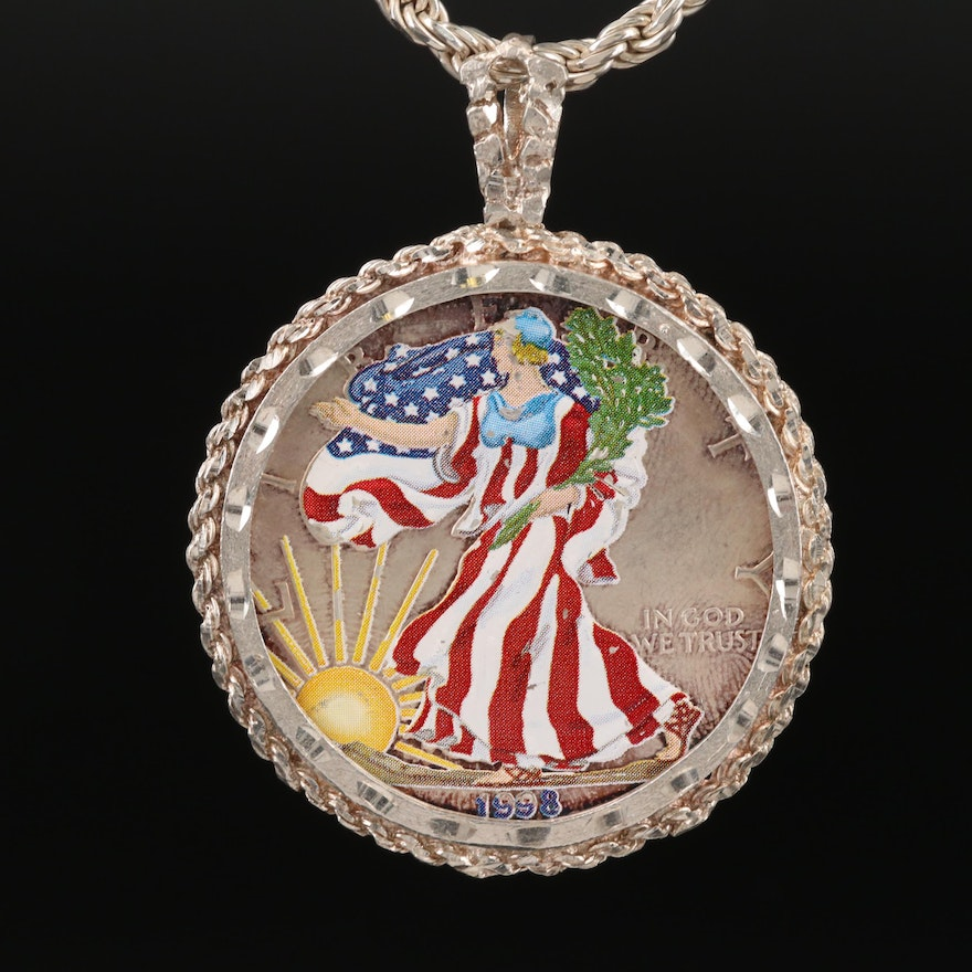 1998 Colorized American Silver Eagle Bullion Coin with Sterling Bezel Necklace