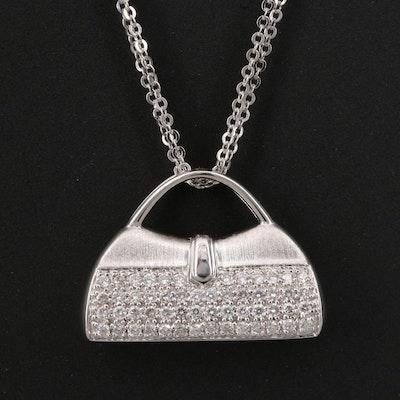 Mirabelle 18K Pavé Diamond Purse Pendant with Chain