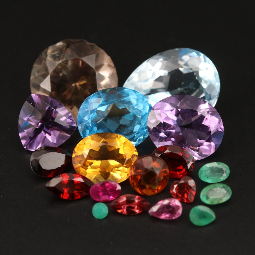 Loose 40.14 CTW Mixed Gemstones Including Emerald, Ruby, Topaz and Amethyst