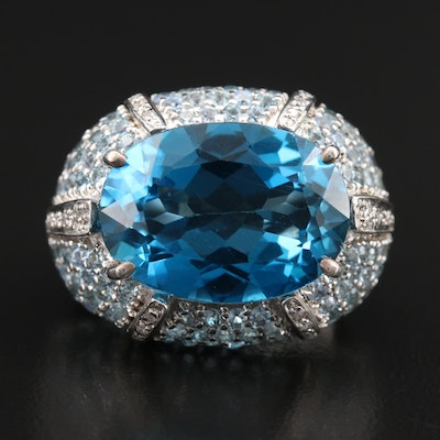 Sterling Swiss Blue Topaz and Diamond Bombe Ring