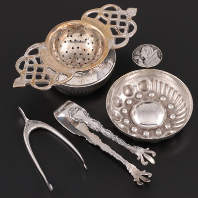 Gorham and Roden Bros Sterling Silver Sugar Tongs with Silver Plate Tableware