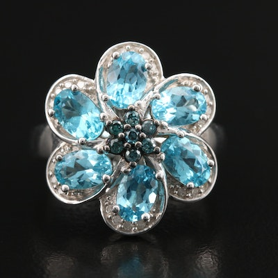 Sterling Apatite and Diamond Flower Ring