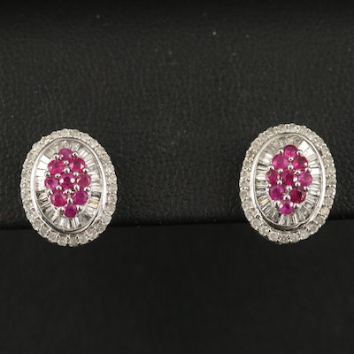 14K Ruby and Diamond Stud Earrings