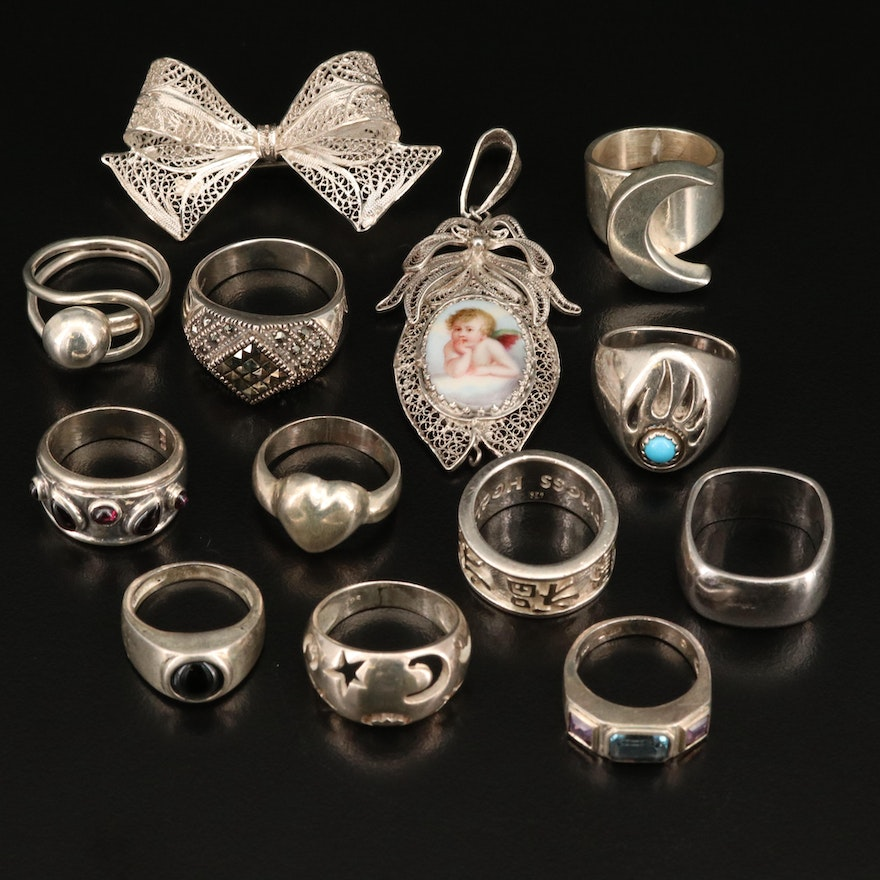 835 Filigree Bow Brooch, 850 and Sterling Silver Rings and Pendant