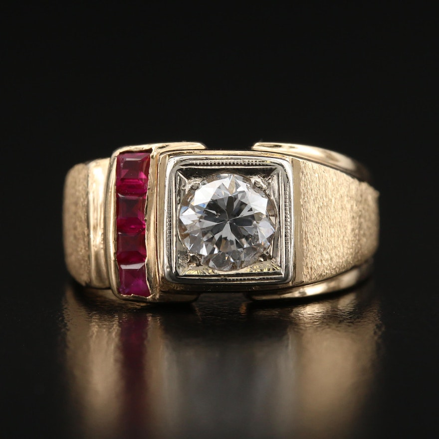14K Diamond and Ruby Ring with Brushed Finish