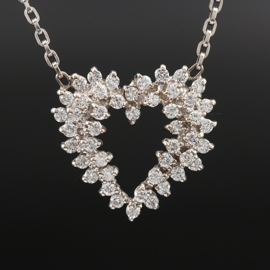 14K 1.50 CTW Diamond Stationary Cluster Heart Pendant with 10K Chain Necklace