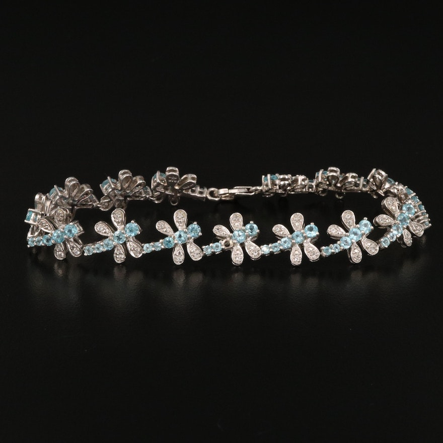 Sterling Apatite and White Spinel Dragonfly Link Bracelet