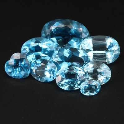 Loose 50.82 CTW Oval and Heart Faceted Swiss Blue Topaz