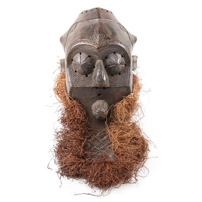 Kete Style Carved Wood Mask, Central Africa