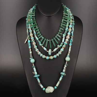 Turquoise, Faux Turquoise and Aventurine Necklaces