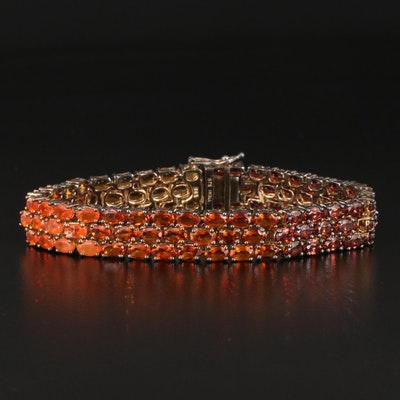 Sterling Multi-Gemstone Bracelet with Graduated Color Design