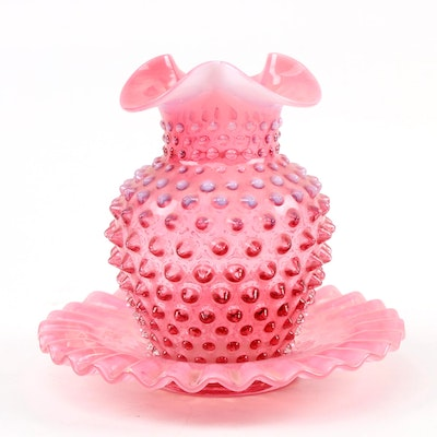 Cranberry Ruffled Hobnail Vase with Matching Dish