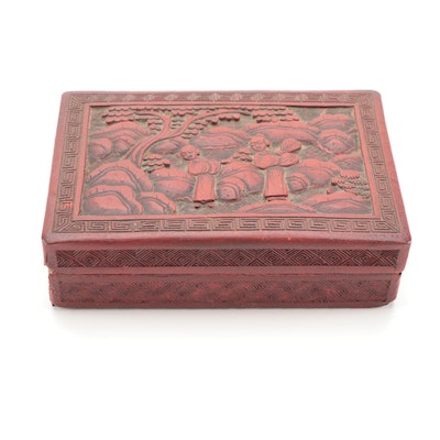 Chinese Cinnabar and  Papier-Mâché Lacquerware Box