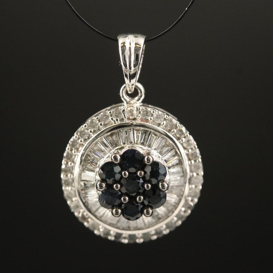 14K Sapphire and Diamond Circular Cluster Pendant