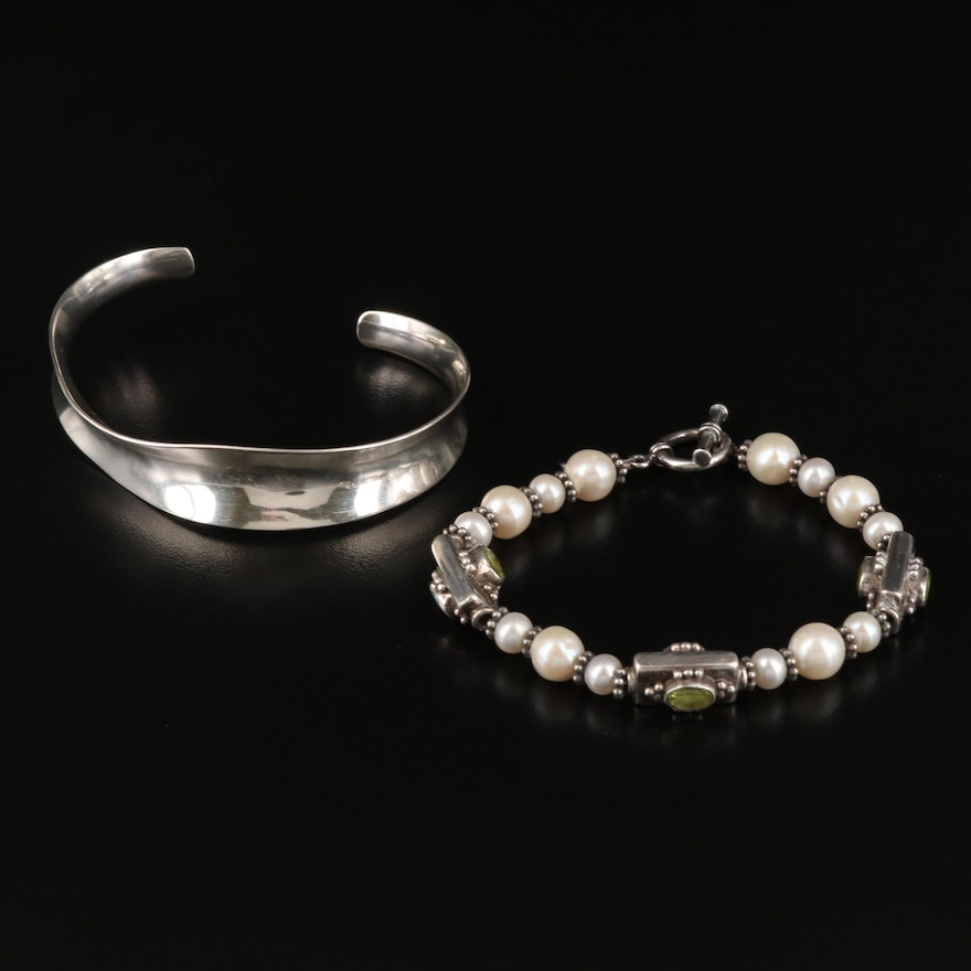 Sterling Pearl and Peridot Bracelet with Mexican Sterling Concave Cuff