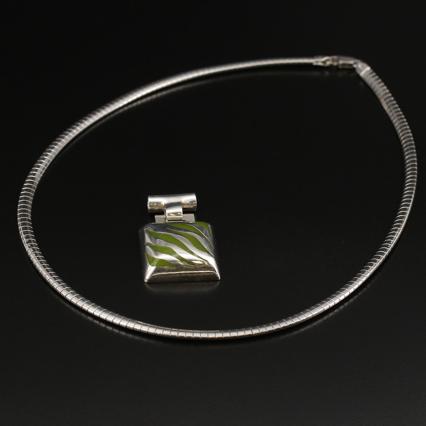 d'escorcia Taxco Enamel Pendant and Italian Sterling Omega Chain Necklace