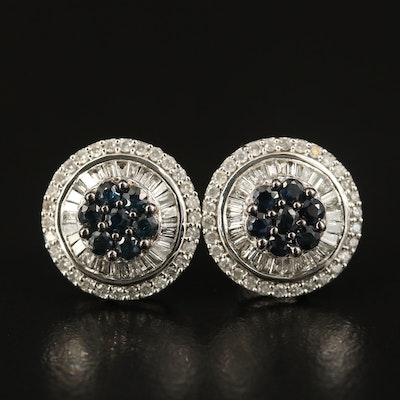 14K Sapphire and Diamond Button Earrings