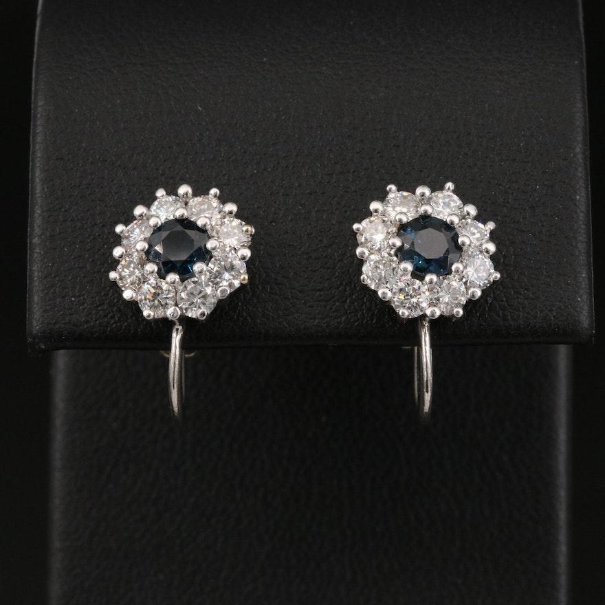 14K Sapphire and Diamond Halo Screw Back Earrings