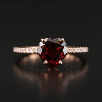 S. Kashi 14K Rose Gold Garnet and Diamond Heart Ring