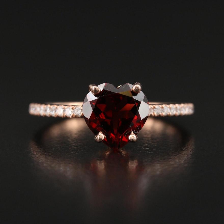 S. Kashi 14K Rose Gold Garnet and Diamond Heart Ring